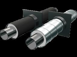 Опоры неподвижные стальные в полиэтиленовой или оцинкованной трубе-оболочке