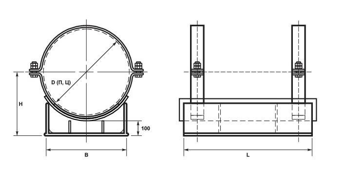 Опоры скользящие для ППУ трубопроводов схема