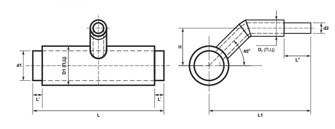 Ответвления тройниковые стальные в ППУ-изоляции схема