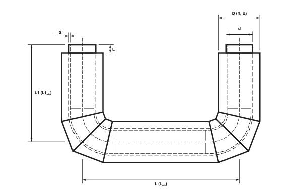 П-образные элементы трубопроводов ППУ схема