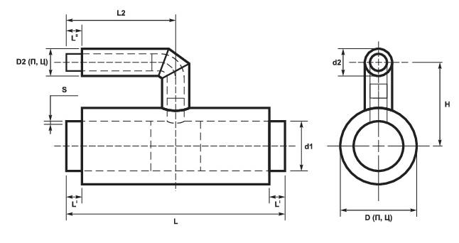 Параллельные тройники ППУ стальные (схема)