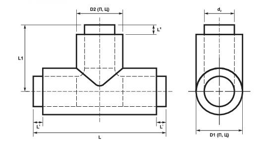 Тройники прямые в ППУ-изоляции ПЭ и ОЦ схема