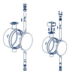 Схема устройства дискового поворотного затвора Ситал